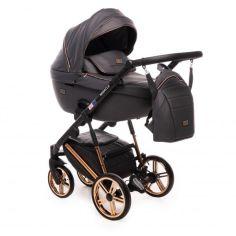 Акция на Коляска детская универсальная 2 в 1 Broco Miracle 9023-BML-02 с дождевиком и москитной сеткой + рюкзак для родителей Темно-серый с золотистым шасси от Allo UA