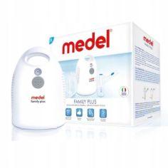 Акция на Ингалятор небулайзер Medel Family Plus с 2 масками, наконечником для носа и мундштуком + сумка для хранения Белый от Allo UA