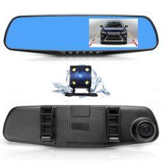 """Акция на Зеркало видеорегистратор на две камеры камера заднего вида для парковки с подсветкой экран 4,3"""" UKC Car DVR 138W черный от Allo UA"""