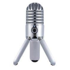 Акция на Микрофон конденсаторный Samson Meteor MIC с USB подключением и разъемом для наушников + подставка и чехол Серебристый от Allo UA