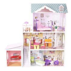 Акция на Мега большой игровой Кукольный домик для Барби EcoToys 4108wg Beverly 124 см деревянный 3 этажа + мебель 13 элементов + аксессуары + гараж Белый от Allo UA