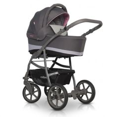 Акция на Коляска универсальная 2 в 1 Colibro Focus с надувными колесами и багажной корзиной + сумка Черный/Розовый от Allo UA