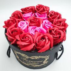 Акция на Подарочный набор розы из мыла в шляпной коробке букет цветочная композиция 19х19 см Forever красный от Allo UA