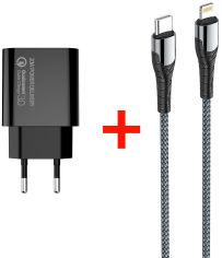 Акция на Сетевое зарядное устройство СolorWay Power Delivery Port USB Type-C (20W) V2 + Кабель Type-C-Apple Lightning (PD 30W) 3.0А 1 м (CW-CHS026PD-BK/CBPDCL033-GR) от Rozetka