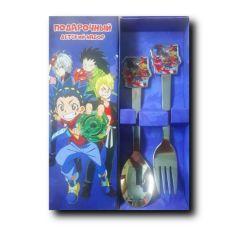 Акция на Детский набор столовых приборов Бейблейд / детская ложка и вилка от Allo UA
