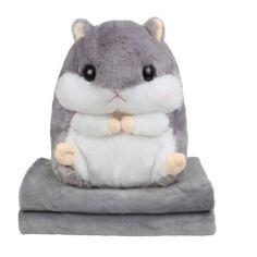 Акция на Подушка Хомяк с пледом Happy Toys, мягкая игрушка, подушка в авто, цвет серый от Allo UA
