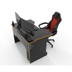 Акция на Геймерский стол Tron ДСП Zeus черный графит/оранж от Allo UA