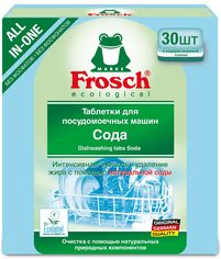 Акция на Таблетки для мытья посуды в посудомоечных машинах Frosch Сода 30 шт (4009175191908) от Rozetka