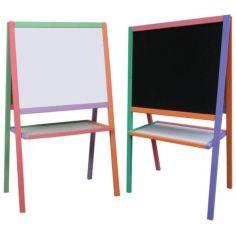 Акция на Мольберт детский двухсторонний магнитный разноцветный, доска для рисования, для магнитов, маркеров и мела 3в1. от Allo UA