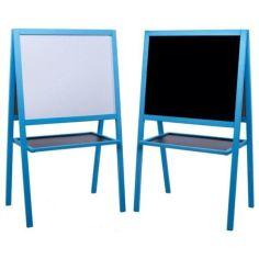 Акция на Мольберт детский двухсторонний магнитный синий, доска для рисования, для магнитв, маркеров и мела 3в1. от Allo UA