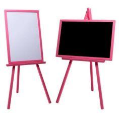Акция на Мольберт детский двухсторонний магнитный розовый, доска для рисования маркерами, мелом и для магнитов 3в1. от Allo UA