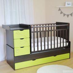 Акция на Детская кроватка для новорожденного трансформер 3 в 1 дм 001 лайм / венге 174 * 74 * 107 от Allo UA