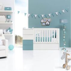 Акция на Детская комбо-кровать для новорожденных ДКН 04 белый / скай 170 * 65 * 90 от Allo UA