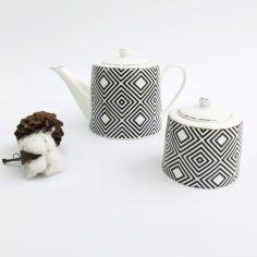 Акция на Набор для чая 2 предмета Luxury Limited Edition ZT18-109 черно-белый от Podushka