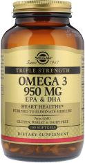 Акция на Solgar Omega-3 Epa & DHA, Triple Strength, 950 mg, 100 Softgels Омега-3 ЭПК и докозагексановая кислота от Y.UA