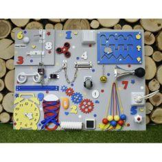 Акция на Бизиборд для раннего развития Busy Child Cтандарт Сине-Желто-Красный 50 х 65 см от Allo UA