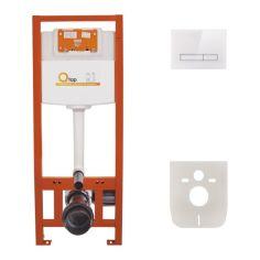 Акция на Инсталляция для унитаза Q-tap Nest комплект 4 в 1 с панелью смыва PL M08GLWHI от Allo UA