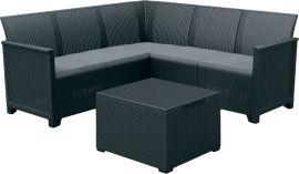Акция на Набор мебели Keter Emma 5 seater Corner Стол-сундук + софа Серый (8711245150840) от Rozetka