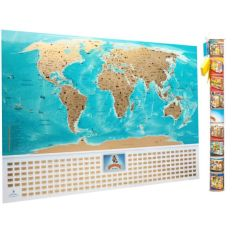 Акция на Подробная скретч карта мира с рельефом и флагами MyGift Flags Edition  в оригинальном тубусе, 88х63 см от Allo UA