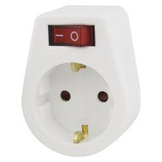 Акция на Сетевой адаптер Emos P00262 1 розетка круглый с заземлением и выключателем от Allo UA