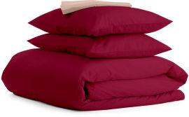 Акция на Комплект натурального постельного белья Cosas 200х220 Ranfors_Bordo_Beige (4822052060933) от Rozetka