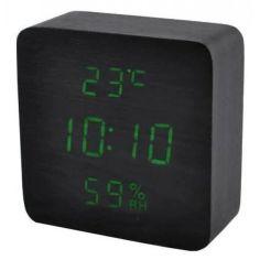 Акция на Часы настольные VST-872 с зеленой подсветкой LED черные 112х55х25 мм от Allo UA
