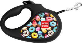 """Акция на Поводок-рулетка для собак Collar WAUDOG R-leash, рисунок """"Пончики"""", S, до 15 кг, 5 м, светоотражающая лента (8124-0070-01) от Rozetka"""