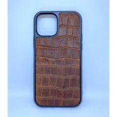 Акция на Чехол CaZe для iPhone 12/12 Pro с тиснением под крокодила Crazy Horse коричневый от Allo UA
