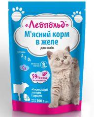 Акция на Влажный корм для кошек Леопольд Мясной корм Ассорти с ягненком и сердцем в желе 100 г х 24 шт. (4820185491709-24) от Stylus