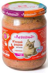 Акция на Влажный корм для кошек Леопольд Мясной рацион с кроликом 460 г х 6 шт. (4820185490795-6) от Stylus