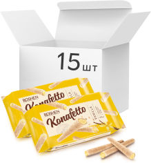 Акция на Упаковка вафельных трубочек Roshen Konafetto с ванильной начинкой 140 г х 15 шт (4823077631917) от Rozetka