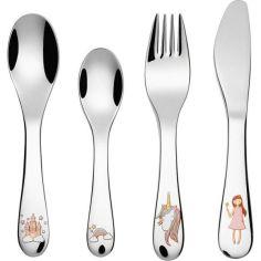 Акция на Столовые приборы подарочный набор для детей из 4х предметов Ernesto, нож, ложка, вилка, чайная ложка, с узором в виде единорога и принцессы от Allo UA