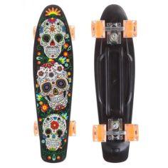 Акция на Пенни борд скейт маленький лонгборд детский скейтборд Best Board доска 55 см, колёса полиуритановые светятся для фрирайда черный-оранжевый с рисунким от Allo UA