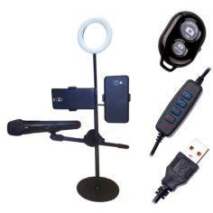 Акция на Настольный держатель LED лампы, двух смартфонов, микрофона, bluetooth кнопка от Allo UA