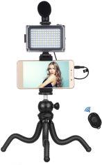 Акция на Комплект блогера Puluz PKT3094B 4в1 (свет, крепление, держатель для телефона, микрофон) от Rozetka