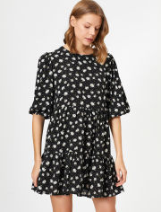 Акция на Платье Koton 0YAK88597PW-48H 42 Black Design (8682359605796) от Rozetka