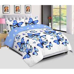 Акция на Постельное белье Бабочки. Размер Евро. Цвет голубой. Комплект постельного белья. Ткань Бязь от Allo UA