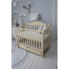 Акция на Кровать детская Baby Comfort ЛД5 на шарнирах с подшипником + фиксатор + откидная боковина слоновая кость с ящиком от Allo UA