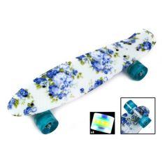 """Акция на Скейтборд Penny Board """"Blue Rose"""" Светящиеся колеса от Allo UA"""