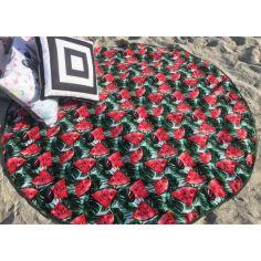 Акция на Круглое пляжное полотенце покрывало коврик из велюра и махры 150 см с фруктовым принтом (6412578-Т) от Allo UA