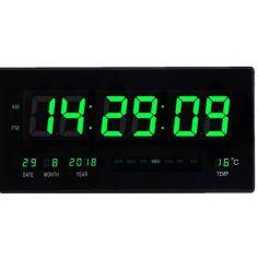 Акция на Настенные электронные часы Led с подсветкой будильник с календарём и термометром (67188530) Зеленая подсветка от Allo UA