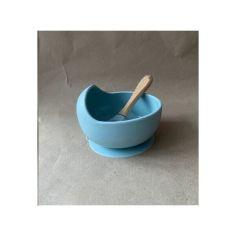 Акция на Детская силиконовая миска тарелка посуда для детей на присоске с ложкой (8421653-Т) Голубая от Allo UA