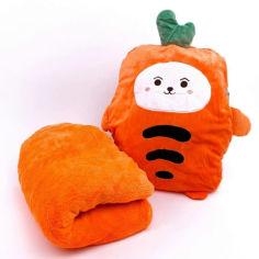Акция на Мягкая игрушка плед подушка трансформер 3 в 1 Морковка (843212) от Allo UA