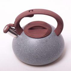 Акция на Чайник со свистком Kamille 2.5л из нержавеющей стали 0680 гранитный дизайн  цвет коричневый от Podushka