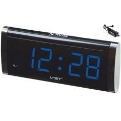 Акция на Настольные электронные цифровые часы сетевые будильник (109457) Синяя подсветка от Allo UA