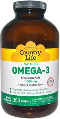 Акция на Жирные кислоты Country Life Omega-3 (Омега-3 рыбий жир) 1000 мг 300 капсул (015794044505) от Rozetka