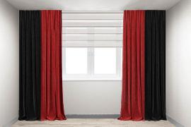 Акция на Шторы Декорин Микровелюр Дабл 250x250 см Красные с черным 2 шт (ROZ6400064238) от Rozetka