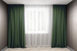 Акция на Комплект штор Декорин Микровелюр 200x270 см Темно-зеленых 2 шт (ROZ6400055722) от Rozetka