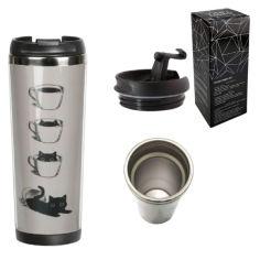 Акция на Термокружка Ziz Котик в чашке с дизайном вакуумная с металлической колбой и закручивающейся крышкой 380 мл от Allo UA