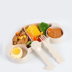 Акция на Набор бамбуковой посуды для детей 2 в 1 Машинка бежевая, детский набор экологической посуды из бамбука от Allo UA